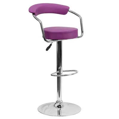 Adjustable Height Swivel Metal Bar Stool (Set of 2) Upholstery: Purple