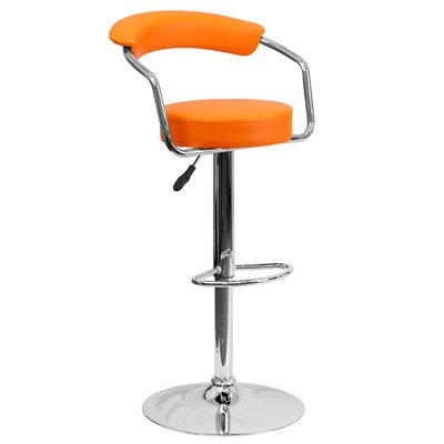 Adjustable Height Swivel Metal Bar Stool (Set of 2) Upholstery: Orange