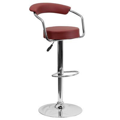 Adjustable Height Swivel Metal Bar Stool (Set of 2) Upholstery: Burgundy