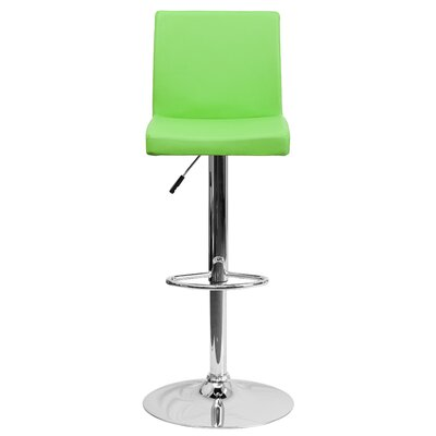 Compton Martin Adjustable Height Swivel Bar Stool (Set of 2) Upholstery: Green