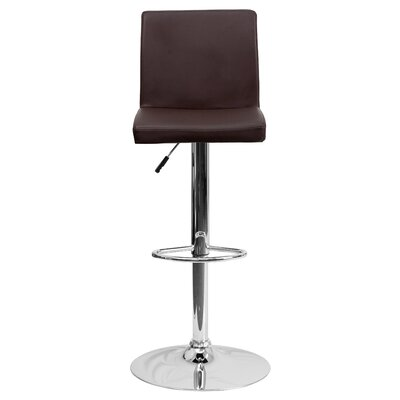 Compton Martin Adjustable Height Swivel Bar Stool (Set of 2) Upholstery: Brown