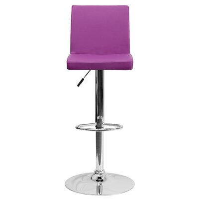 Compton Martin Adjustable Height Swivel Bar Stool (Set of 2) Upholstery: Purple