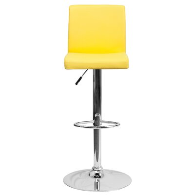 Compton Martin Adjustable Height Swivel Bar Stool (Set of 2) Upholstery: Yellow