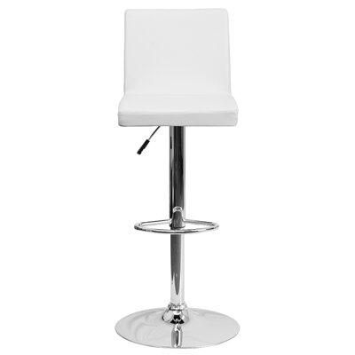 Compton Martin Adjustable Height Swivel Bar Stool (Set of 2) Upholstery: White