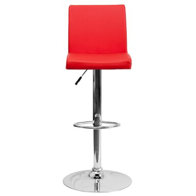 Compton Martin Adjustable Height Swivel Bar Stool (Set of 2) Upholstery: Red