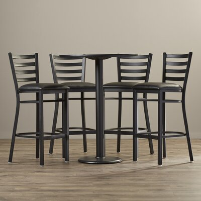 5 Piece Pub Height Dining Set Finish: Black