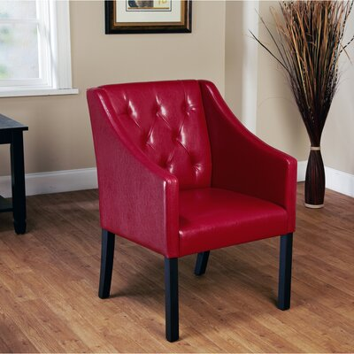 Newton Tufted Armchair Color: Red Wine