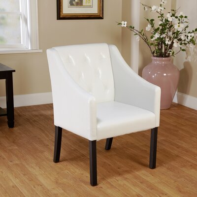 Newton Tufted Armchair Upholstery: White