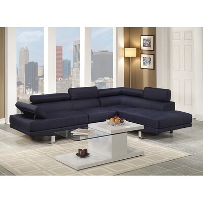 Clandown Vegas Sectional Upholstery: Dark Blue