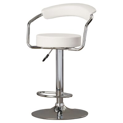 Adjustable Height Swivel Metal Bar Stool (Set of 2) Upholstery: White