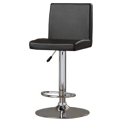 Compton Martin Adjustable Height Swivel Bar Stool (Set of 2) Upholstery: Black