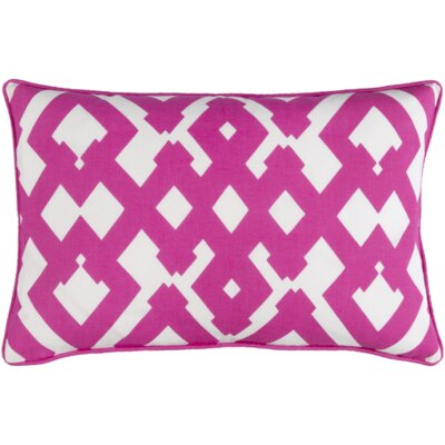 Belford Large Zig Zag Square Linen Throw Pillow Size: 18 H x 18 W x 4 D, Color: Hot Pink/Ivory