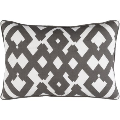 Belford Large Zig Zag Linen Lumbar Pillow Color: Gray/Ivory