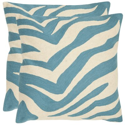 Jourdan Cotton Throw Cushion Size: 22 H x 22 W, Color: Blue Rain