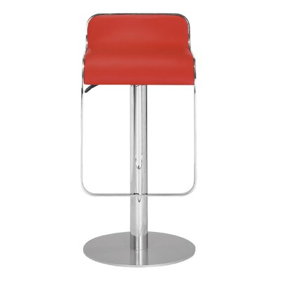 Landen Adjustable Height Swivel Bar Stool Seat Color: Red