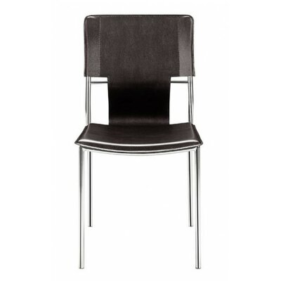 Landin Side Chair with Leatherette Seat and Back Upholstery: Espresso