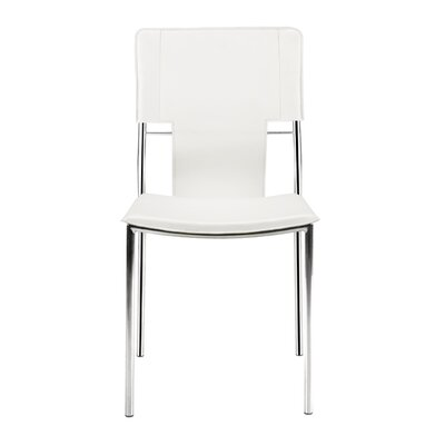 Landin Side Chair with Leatherette Seat and Back Upholstery: White