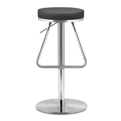 Robles Adjustable Height Swivel Bar Stool Seat Color: Black