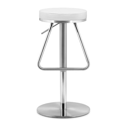 Robles Adjustable Height Swivel Bar Stool Seat Color: White