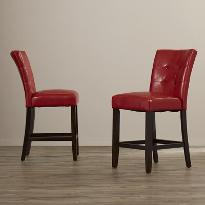 Christensen 24 inch Bar Stool Upholstery: Red