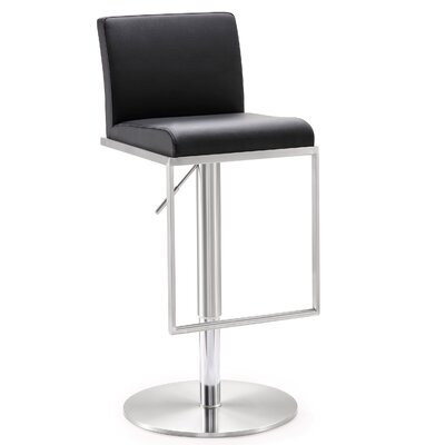 Blagg Adjustable Height Swivel Bar Stool Upholstery: Black