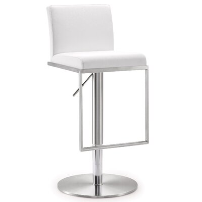 Blagg Adjustable Height Swivel Bar Stool Upholstery: White