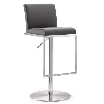 Blagg Adjustable Height Swivel Bar Stool Upholstery: Gray