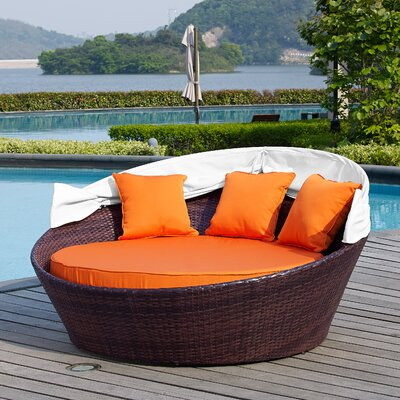 Ryde Daybed with Cushion Finish: Black, Fabric: Red