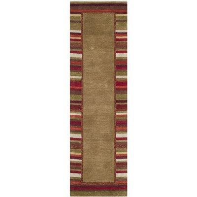 Striped Border Hand-Loomed Lead Gray Area Rug Rug Size: Runner 23 x 8