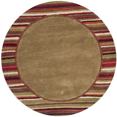 Striped Border Hand-Loomed Lead Gray Area Rug Rug Size: Round 4 x 4