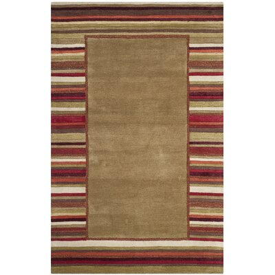 Striped Border Hand-Loomed Lead Gray Area Rug Rug Size: 5 x 8