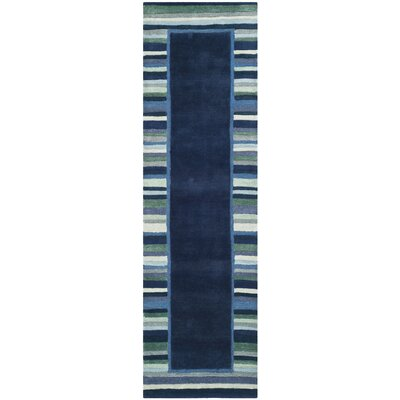 Striped Border Hand-Tufted Wrought Iron Area Rug Rug Size: Runner 23 x 8