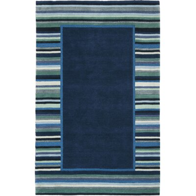 Striped Border Hand-Tufted Wrought Iron Area Rug Rug Size: 5 x 8
