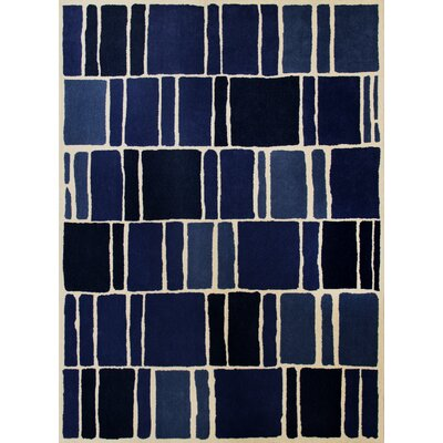 Blocks Hand-Loomed Blue / Ivory Area Rug Rug Size: 9 x 12