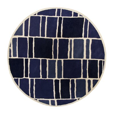 Blocks Hand-Loomed Blue / Ivory Area Rug Rug Size: Round 4 x 4