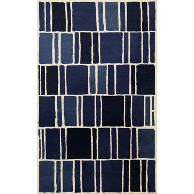 Blocks Hand-Loomed Blue / Ivory Area Rug Rug Size: 5 x 8