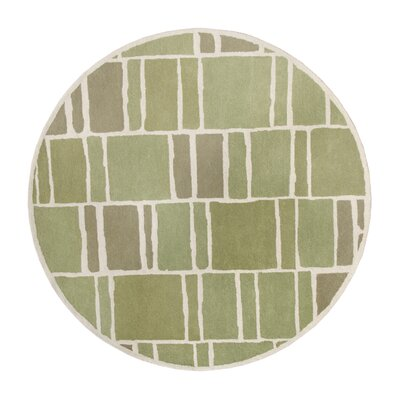 Blocks Hand-Loomed Green / Ivory Area Rug Rug Size: Round 4 x 4