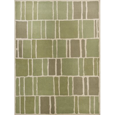 Blocks Hand-Loomed Green / Ivory Area Rug Rug Size: 9 x 12