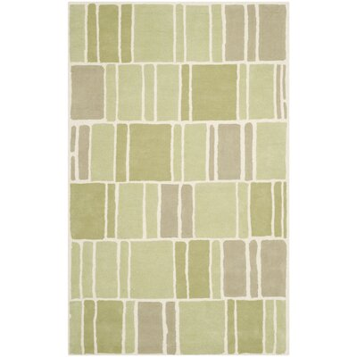 Blocks Hand-Loomed Green / Ivory Area Rug Rug Size: 4 x 6