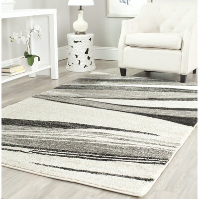 Kenji Light Grey / Ivory Area Rug Rug Size: Square 8