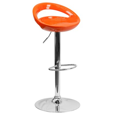 Tyson Adjustable Height Swivel Bar Stool Seat Color: Orange