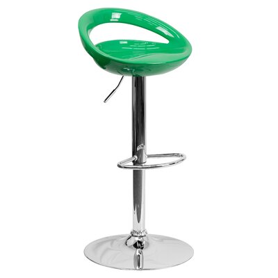 Tyson Adjustable Height Swivel Bar Stool Seat Color: Green