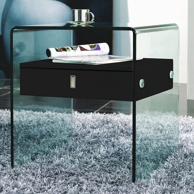 Joaquin 1 Drawer Nightstand Color: Black