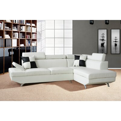 Brisson Sectional Upholstery: White, Orientation: Right Hand Facing