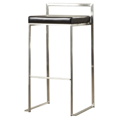 Gary 30 Bar Stool Upholstery: Black, Finish: Stainless Steel