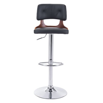 Peter Adjustable Height Bar Stool Upholstery: Black