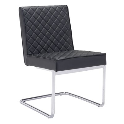 Peter Quilted Side Chair Finish: Black