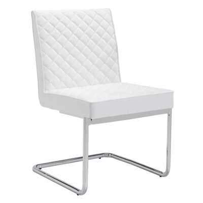 Peter Quilted Side Chair Finish: White