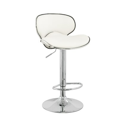 Brandon Adjustable Height Swivel Bar Stool (Set of 2) Upholstery: White