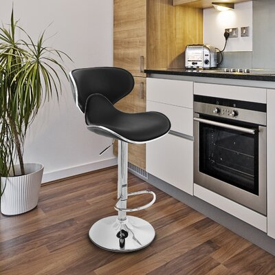 Low Back Adjustable Height Swivel Bar Stool Upholstery: Black
